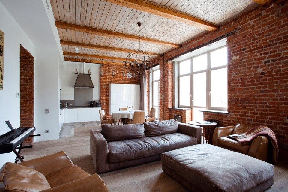 Большие пространства, огромные окна, много света - основа стиля лофт.
