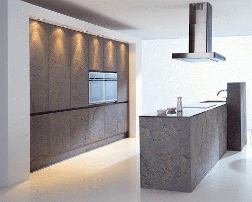 Кухонные фасады из шпона сланца