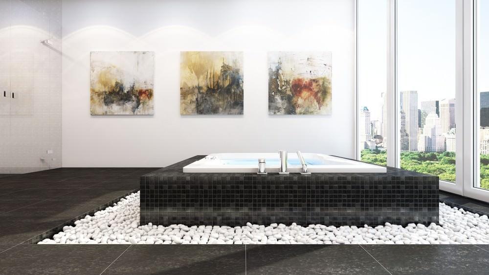 Морская галька в дизайне интерьера ванной