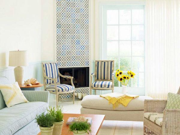 Дизайн интерьера в скандинавском стиле с камином в изразцовой отделке