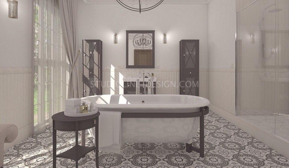 Дизайн интерьера ванной в частном доме в стиле винтаж. Работа нашей студии.