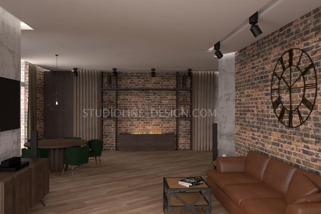 Коричневый диван и стулья глубокого изумрудного оттенка в сочетании с остальными элементами интерьера и ковкой - выгрышно подчеркивают винтажную атмосферу и индастриал