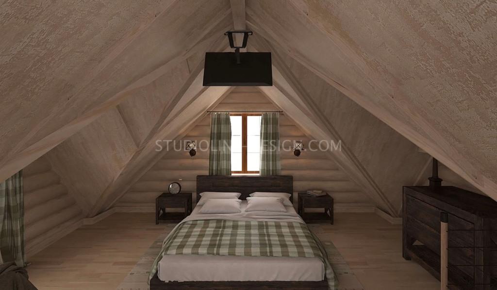Спальня в мансарде деревянного дома. Стиль кантри в интерьере