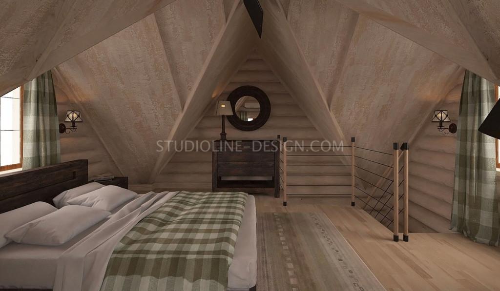Потолок спальни в мансарде - отделка декоративной фактурной штукатуркой