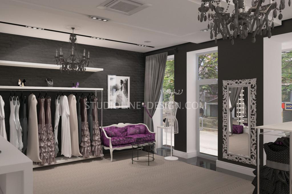 Работа нашей студии. Дизайн интерьера бутика вечерних платьев в Харькове