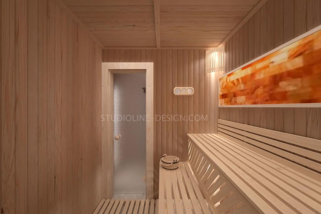 Интерьер парной (сауны) с соляным панно с подсветкой