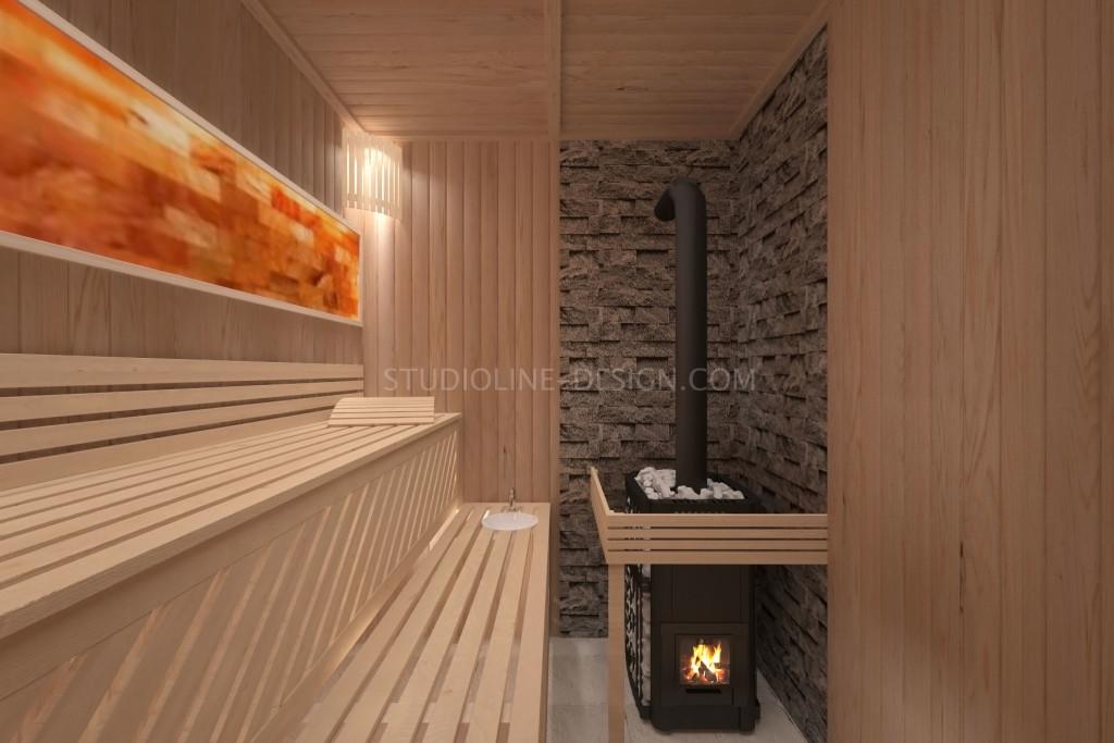 Парная с печью-каменкой с внутренней загрузкой дров