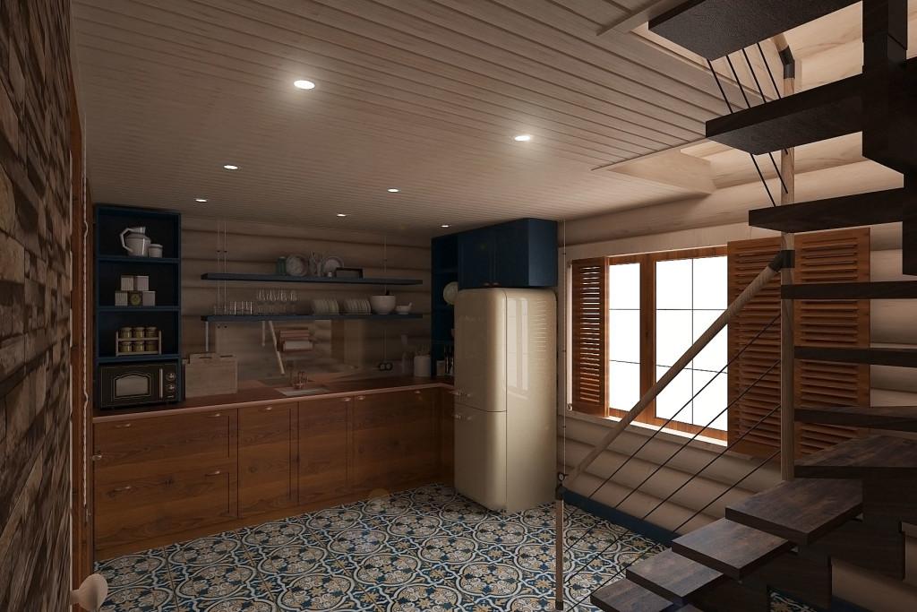 Кухня в интерьере деревянного сруба (2 планировка). Здесь уже нет обеденного стола и шкафа для верхней одежды