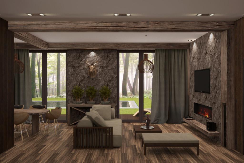 Дизайн интерьера гостевого дома (шале) в отельном комплексе (Киевская область). Работа нашей студии