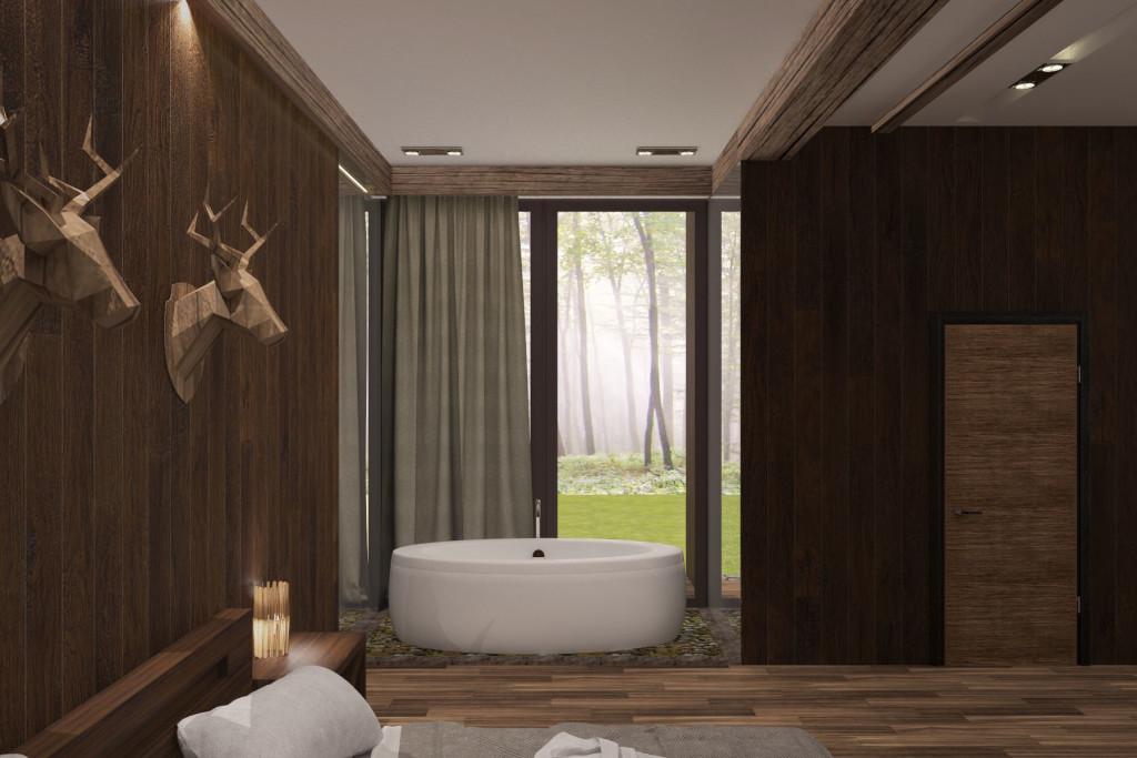 Ванна с видом на лес. Что может быть лучше. Дизайн интерьера гостиничного комплекса в лесной зоне (Киевская область). Работа нашей студии