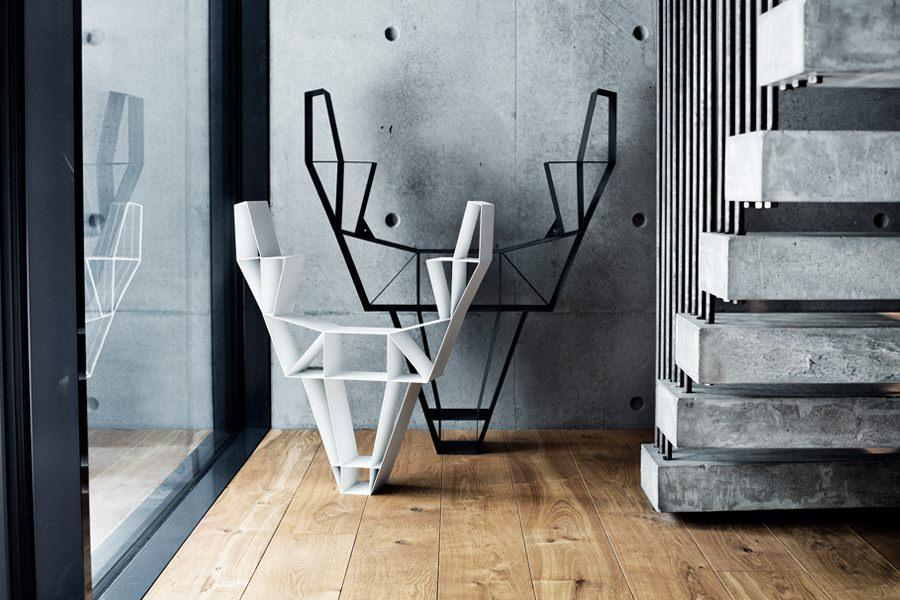 Black-and-White-metal-Deer-Head-Shelves